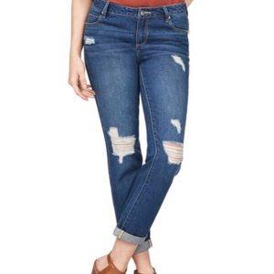Dark Distressed Slim Boyfriend Jeans sz 25